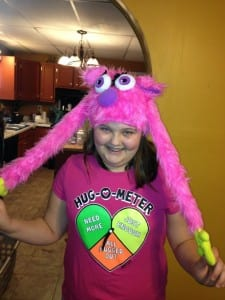 Gracie with her Puppet Monster