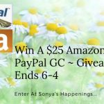 Enter to win a $25 Amazon or PayPal GC ~ Giveaway ends 6-4